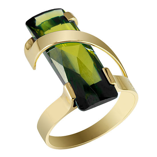 Gold + Quartz Contemporary Statement/Cocktail Ring (Green)