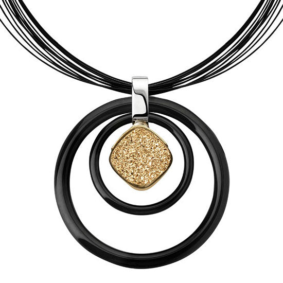 Contemporary Black Onyx, Druzy and Gold Setting Pendant