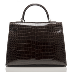 Hermes Graphite Shiny Niloticus Crocodile Kelly Sellier 35cm
