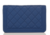 Chanel Dark Blue Quilted Caviar Boy Wallet On Chain (WOC)
