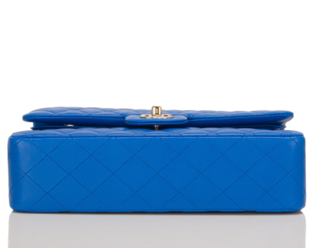 Chanel Blue Quilted Lambskin Medium Double Flap Bag