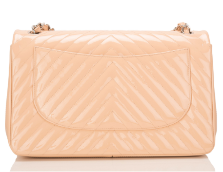 Chanel Beige Patent Chevron Jumbo Classic Double Flap Bag
