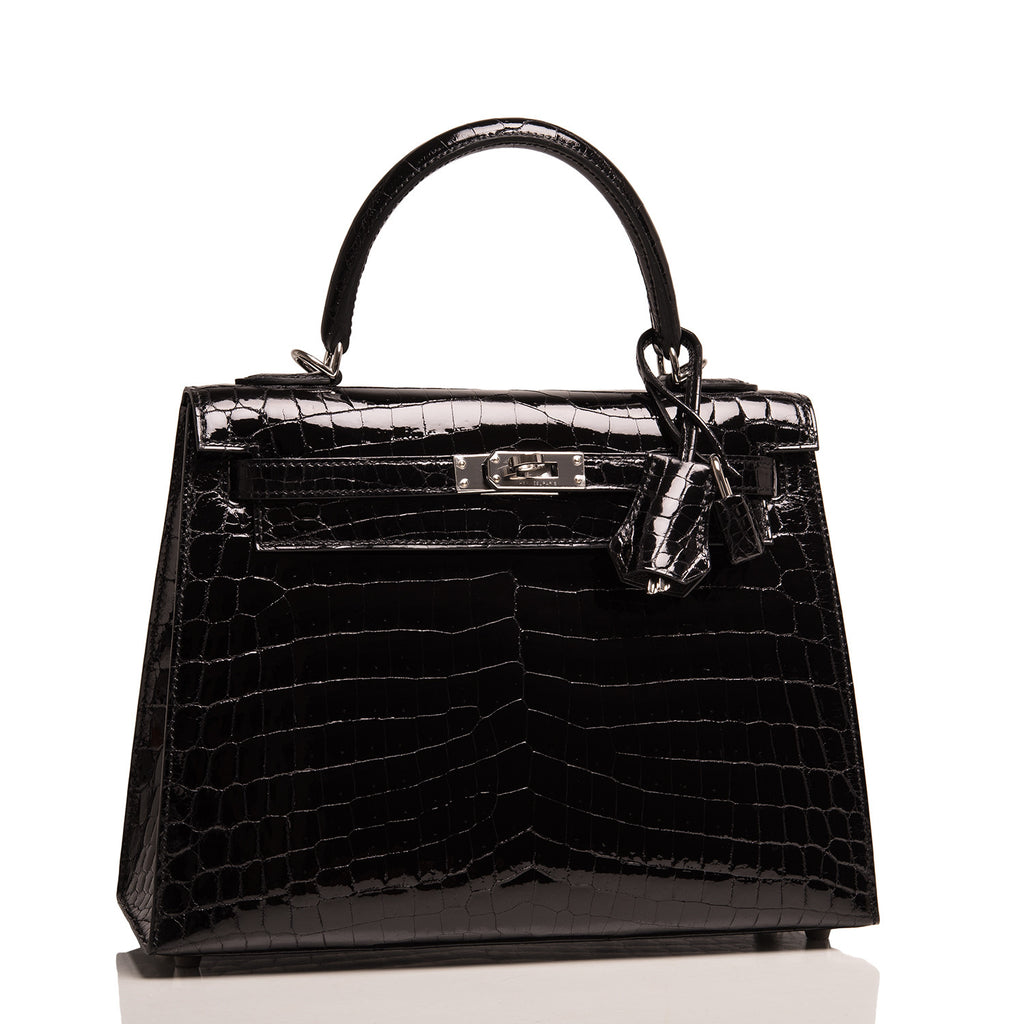 Hermes Black Shiny Niloticus Crocodile Kelly Sellier 25cm
