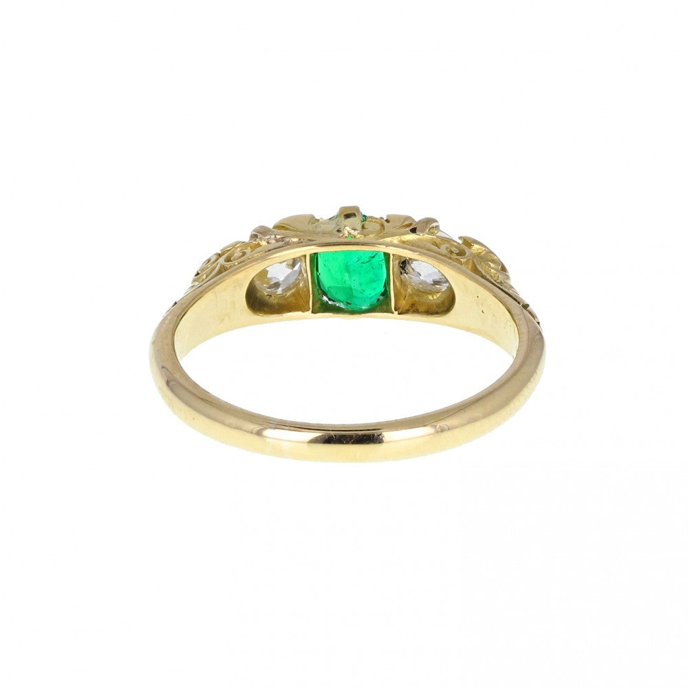 Antique Gallery Set Emerald and Diamond Ring
