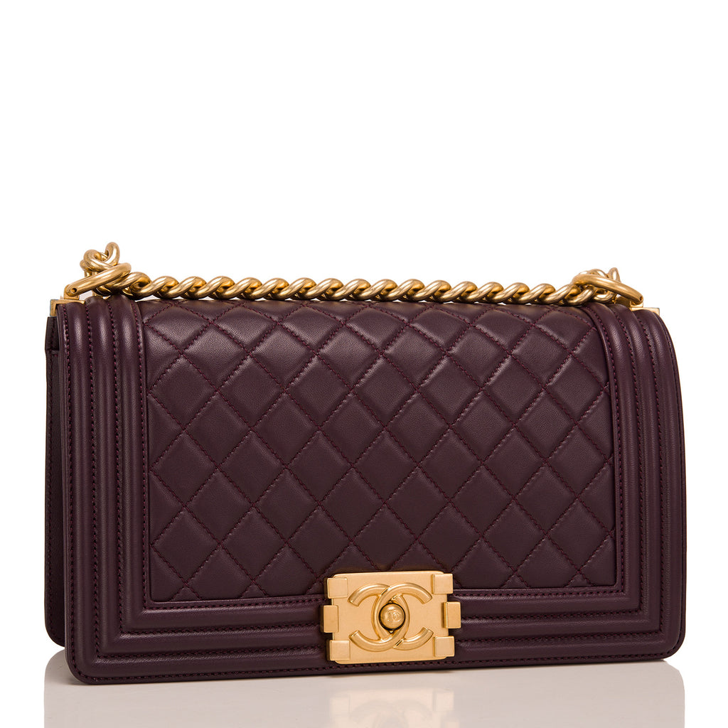 Chanel Dark Purple Quilted Lambskin Medium Boy Bag