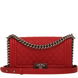 Chanel Red Quilted Caviar Medium Boy Bag