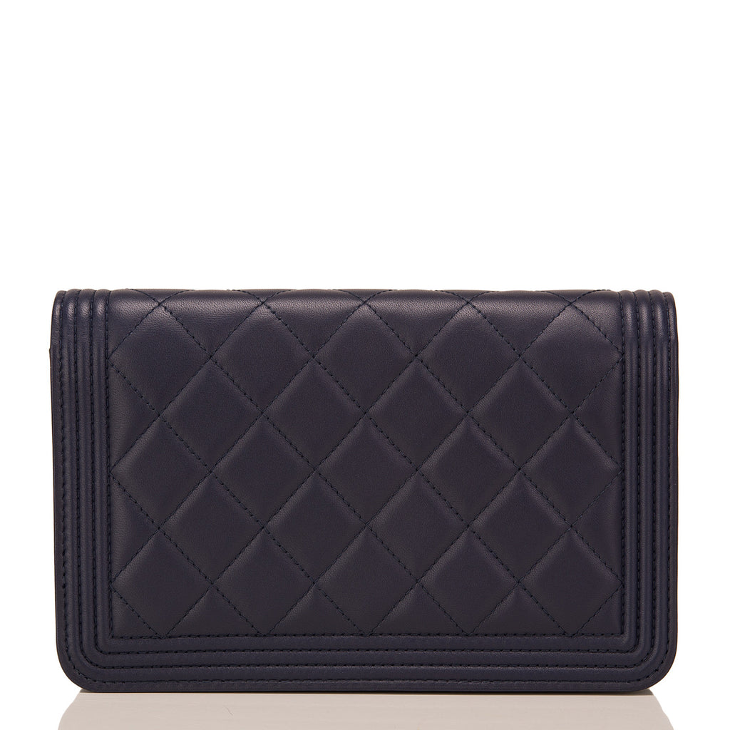 Chanel Navy Quilted Lambskin Boy Wallet On Chain (WOC)