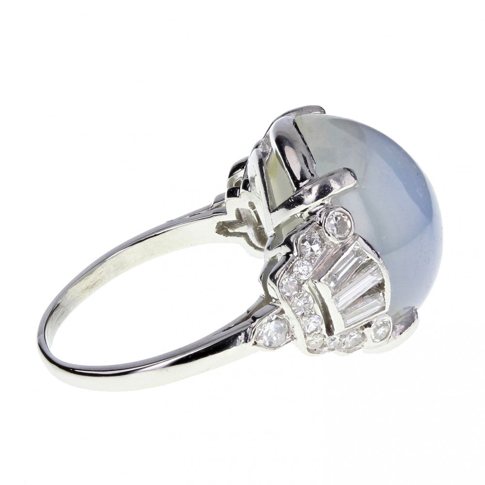 Art Deco Unheated Star Sapphire and Diamond Ring