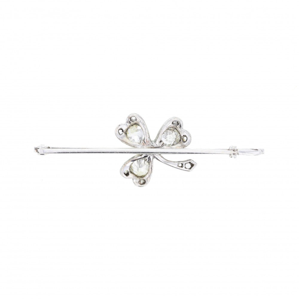 Antique Pearl & Diamond Clover Bar Brooch