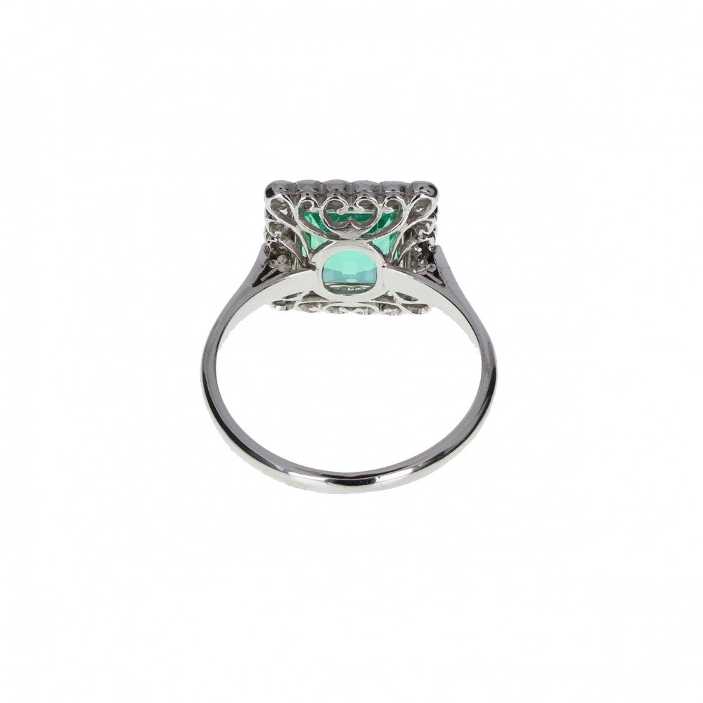 Art Deco Emerald and Diamond Border Cluster Ring