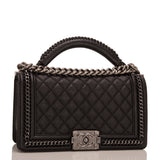 Chanel Paris In Rome Black Quilted Calfskin Medium Boy Bag With Handle