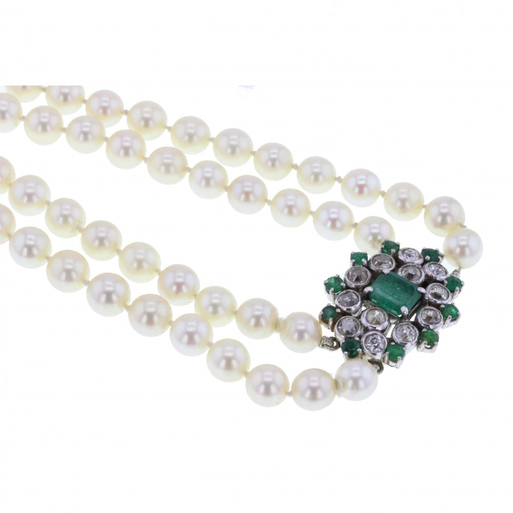 Double Strand Pearls and Antique Emerald and Diamond Clasp