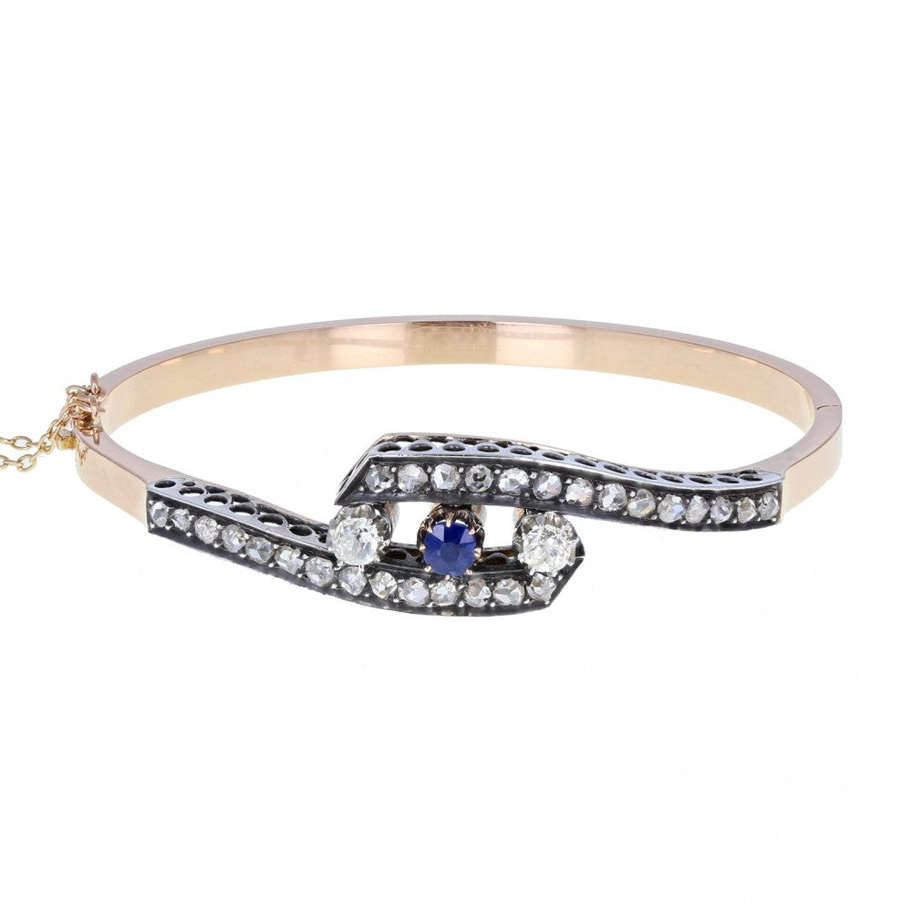 Victorian Sapphire and Diamond Crossover Bangle