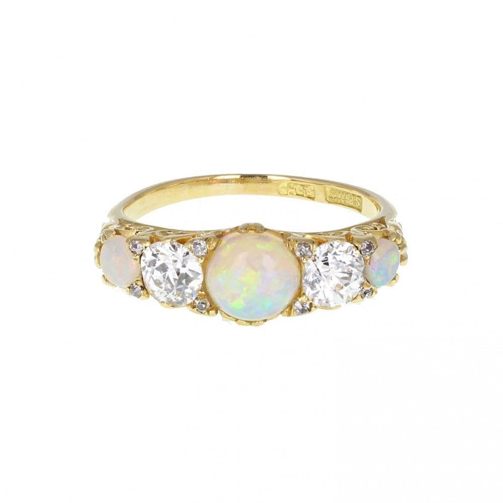 Antique Carved Gallery Set Opal and Diamond Five Stone Ring