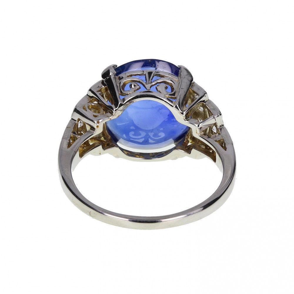 Art Deco Fancy Cut Sapphire and Diamond Ring