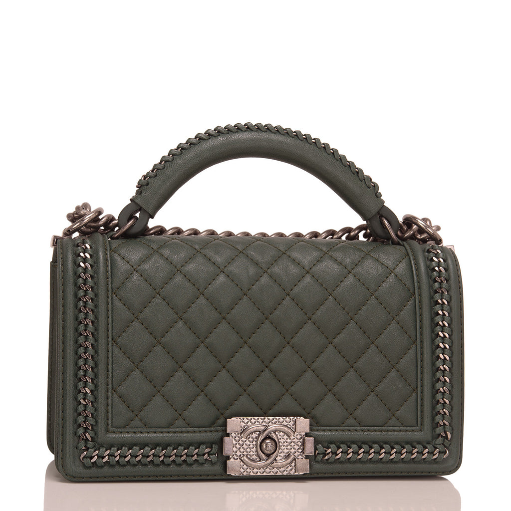 Chanel Paris In Rome Dark Green Quilted Calfskin Medium Boy Bag With Handle