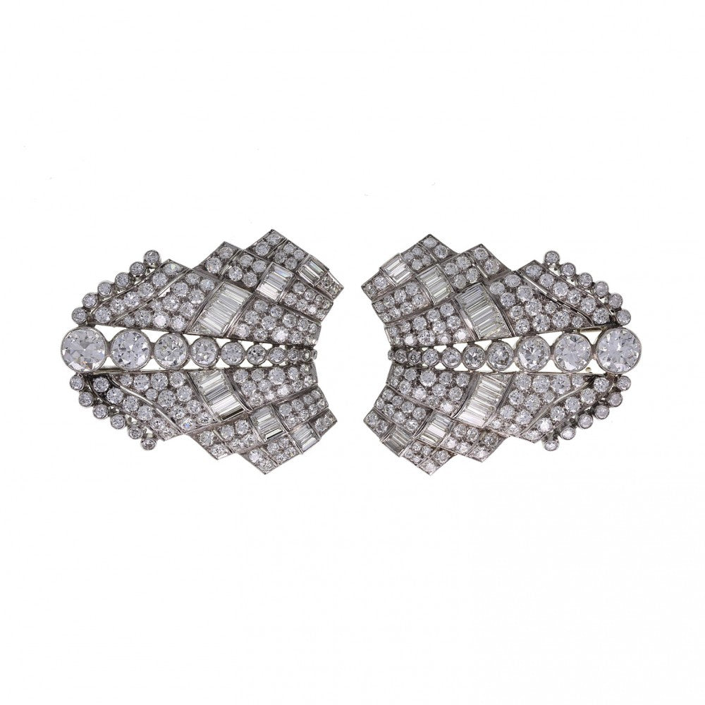 Art Deco Platinum Diamond Double Clip