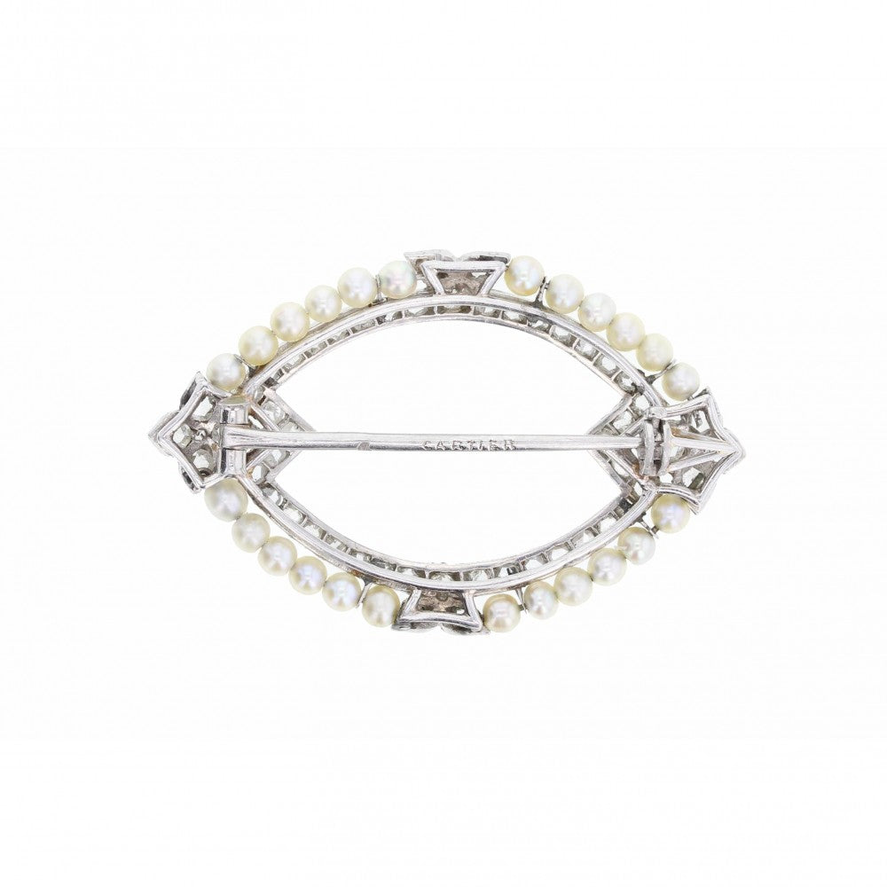Cartier Pearl and Diamond 1920\'s Brooch in Platinum
