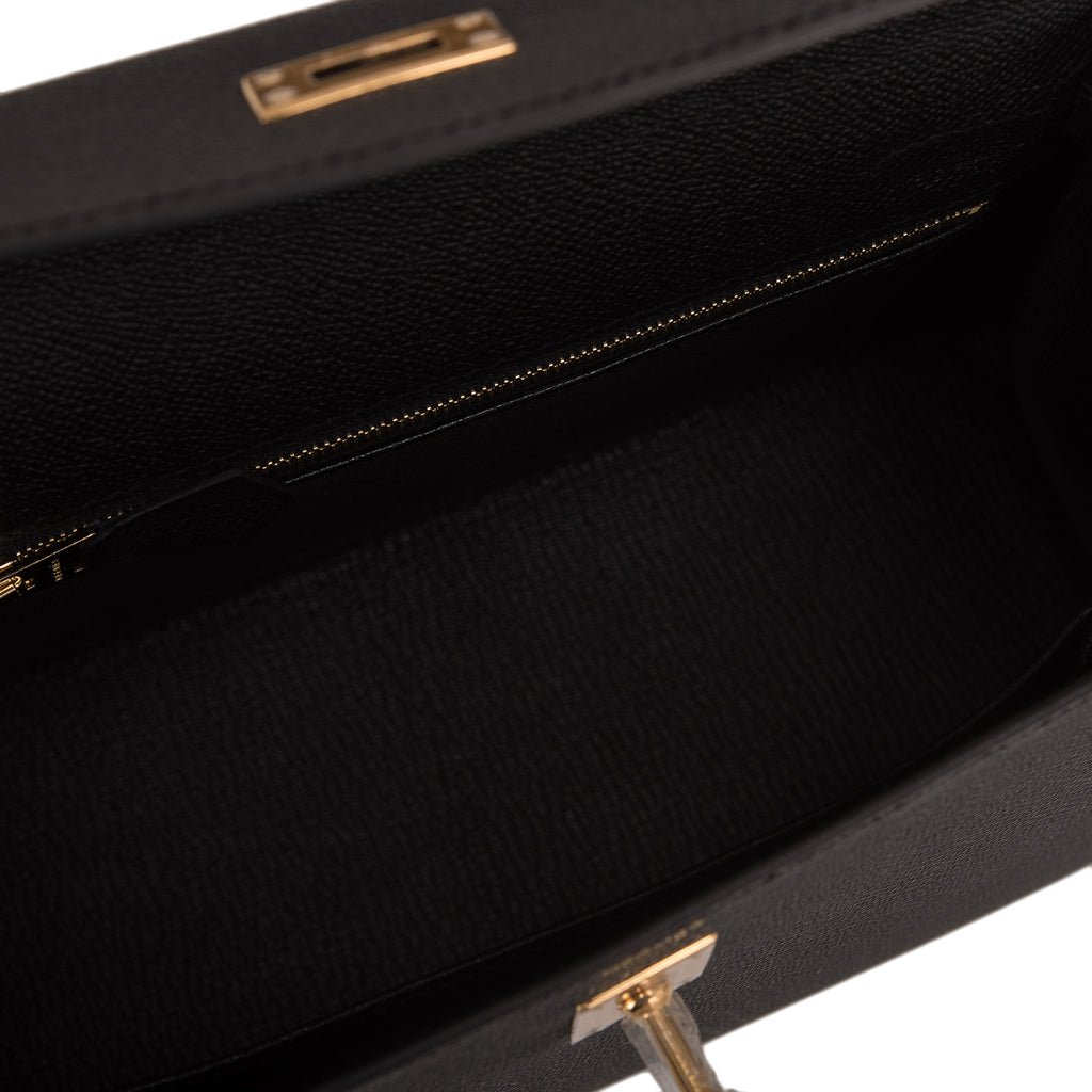 Hermes Black Epsom Sellier Kelly 25cm Gold Hardware
