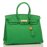 Hermes HSS Bi-Color Bamboo and Gold Togo Birkin 35cm Brushed Gold Hardware
