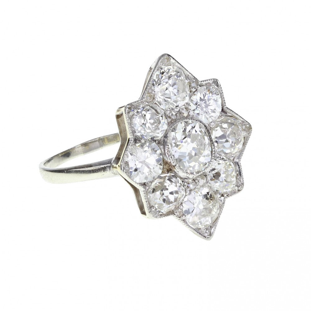 Edwardian Diamond Star Cluster Ring