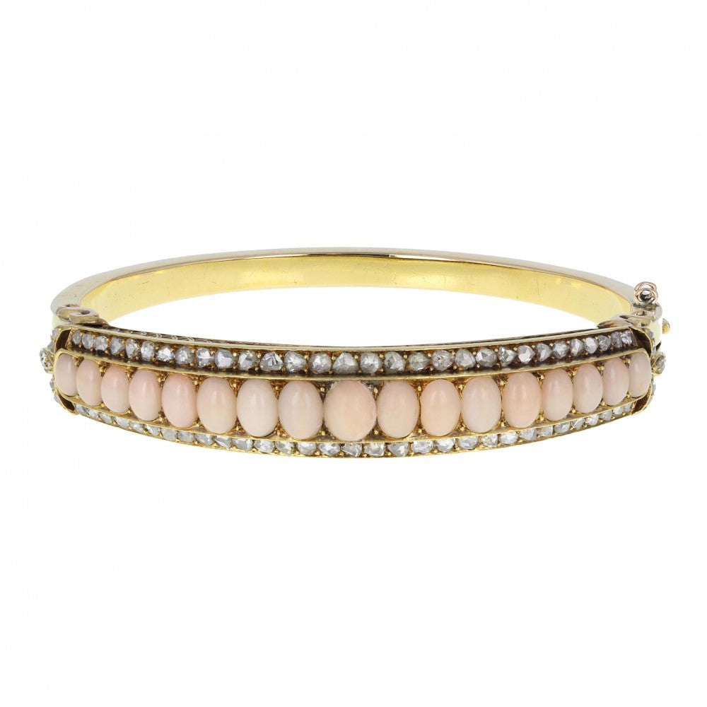 15-Carat Gold Coral and Diamond Victorian Bangle