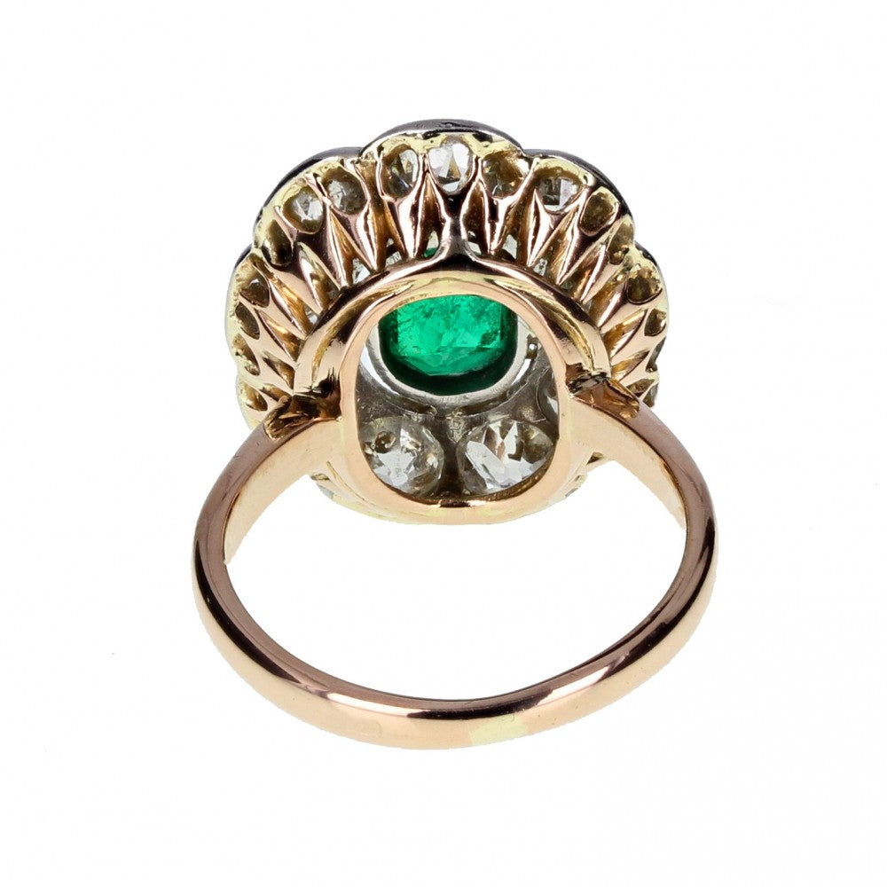 Antique Oval Emerald and Diamond Cluster Ring