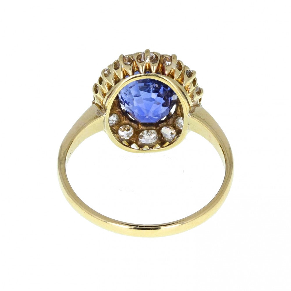 Antique Cushion Ceylon Sapphire and Diamond Cluster Ring