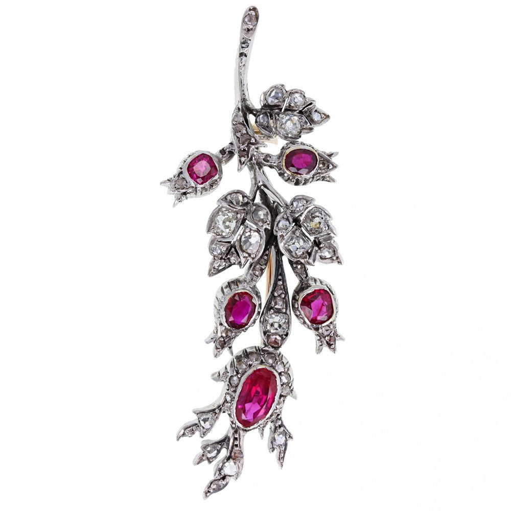 Antique Ruby and Diamond Floral Spray Brooch
