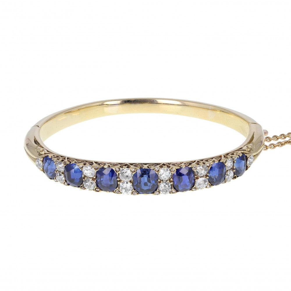 Sapphire and Diamond Gallery Set Victorian Bangle
