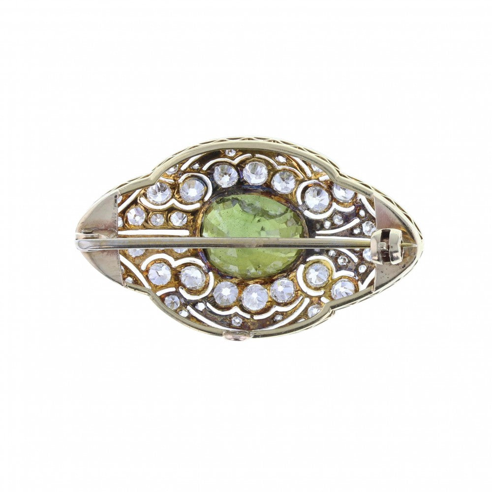 Green Chrysoberyl and Diamond Edwardian Brooch