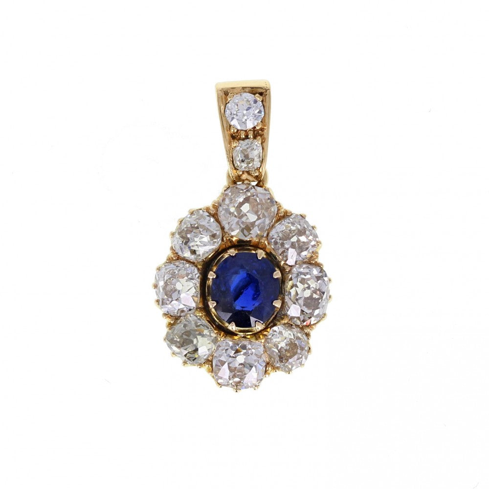 Antique Sapphire Old Cut Diamond Pendant