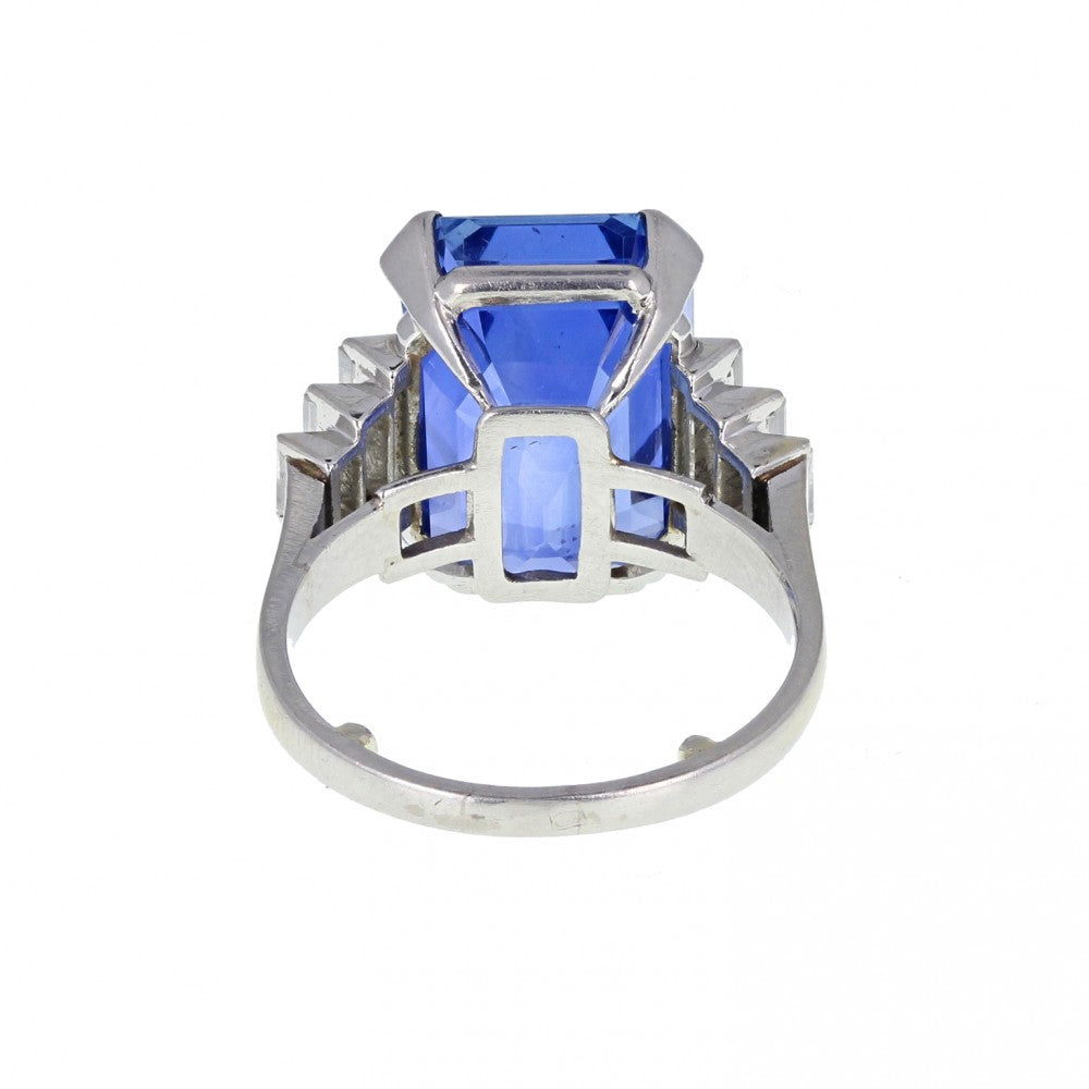 Art Deco Emerald Cut Ceylon No Heat Sapphire and Diamond Ring
