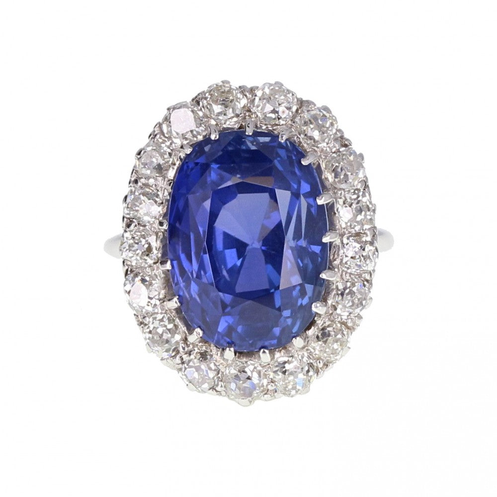 Colour Change Sapphire Diamond Oval Cluster Ring