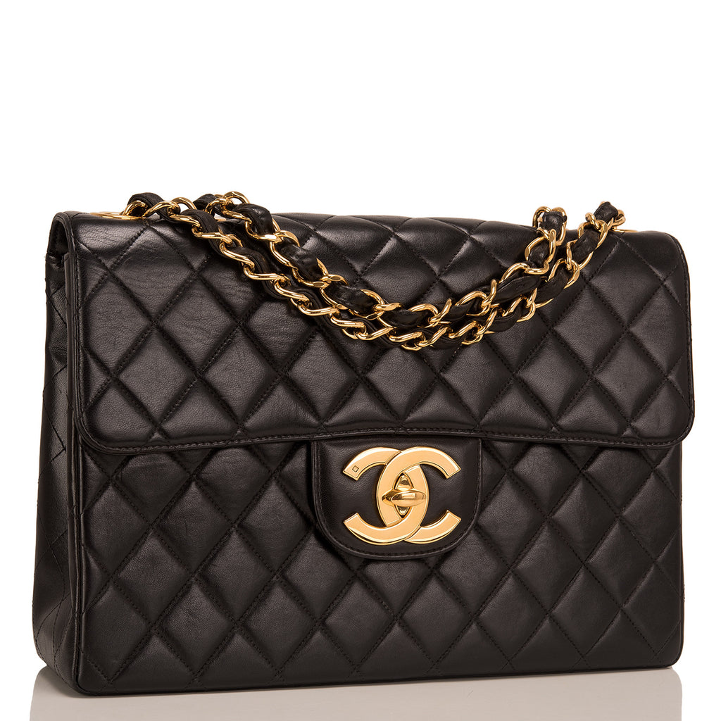 Chanel Vintage Black Quilted Lambskin Jumbo Classic Flap Bag