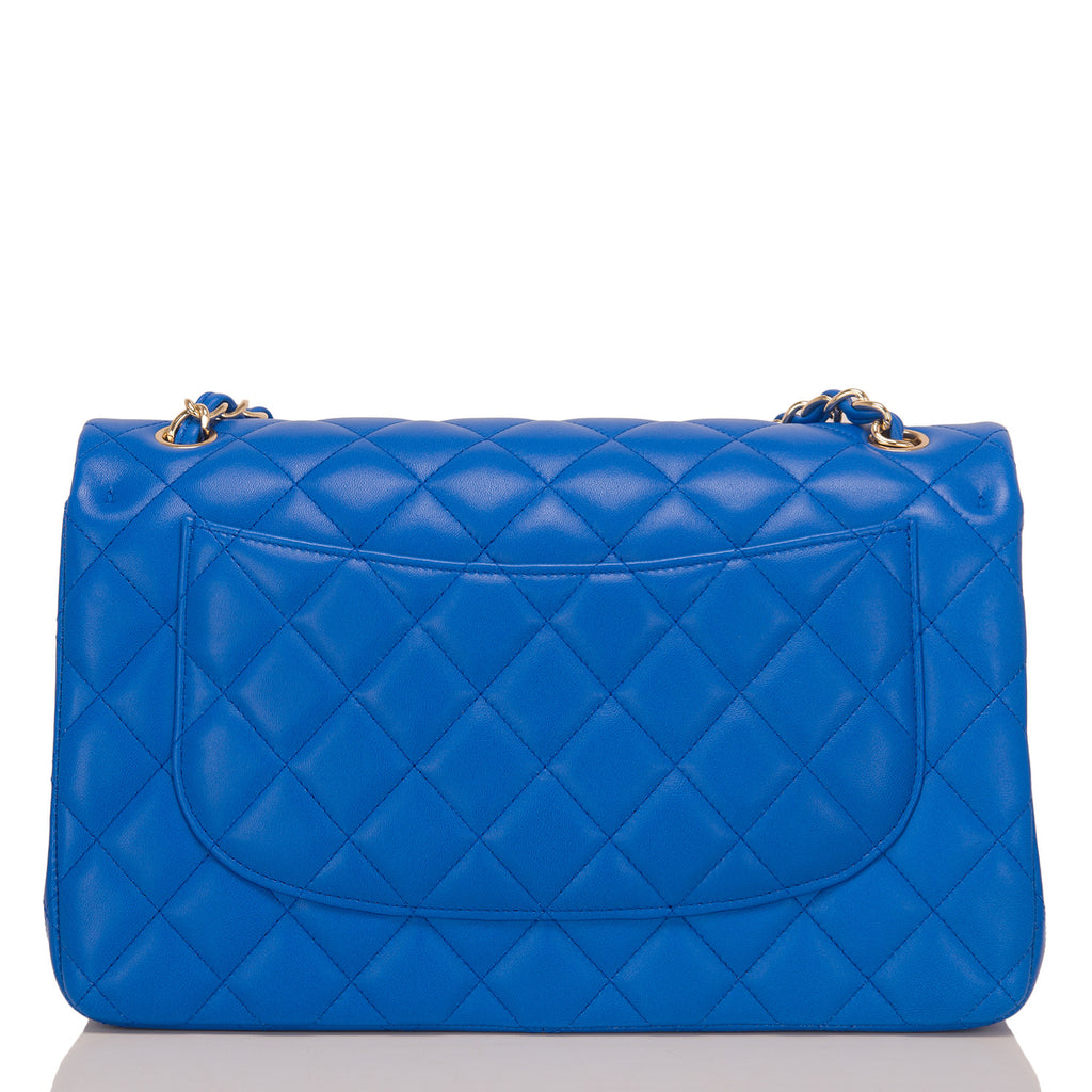 Chanel Blue Quilted Lambskin Jumbo Classic Double Flap Bag