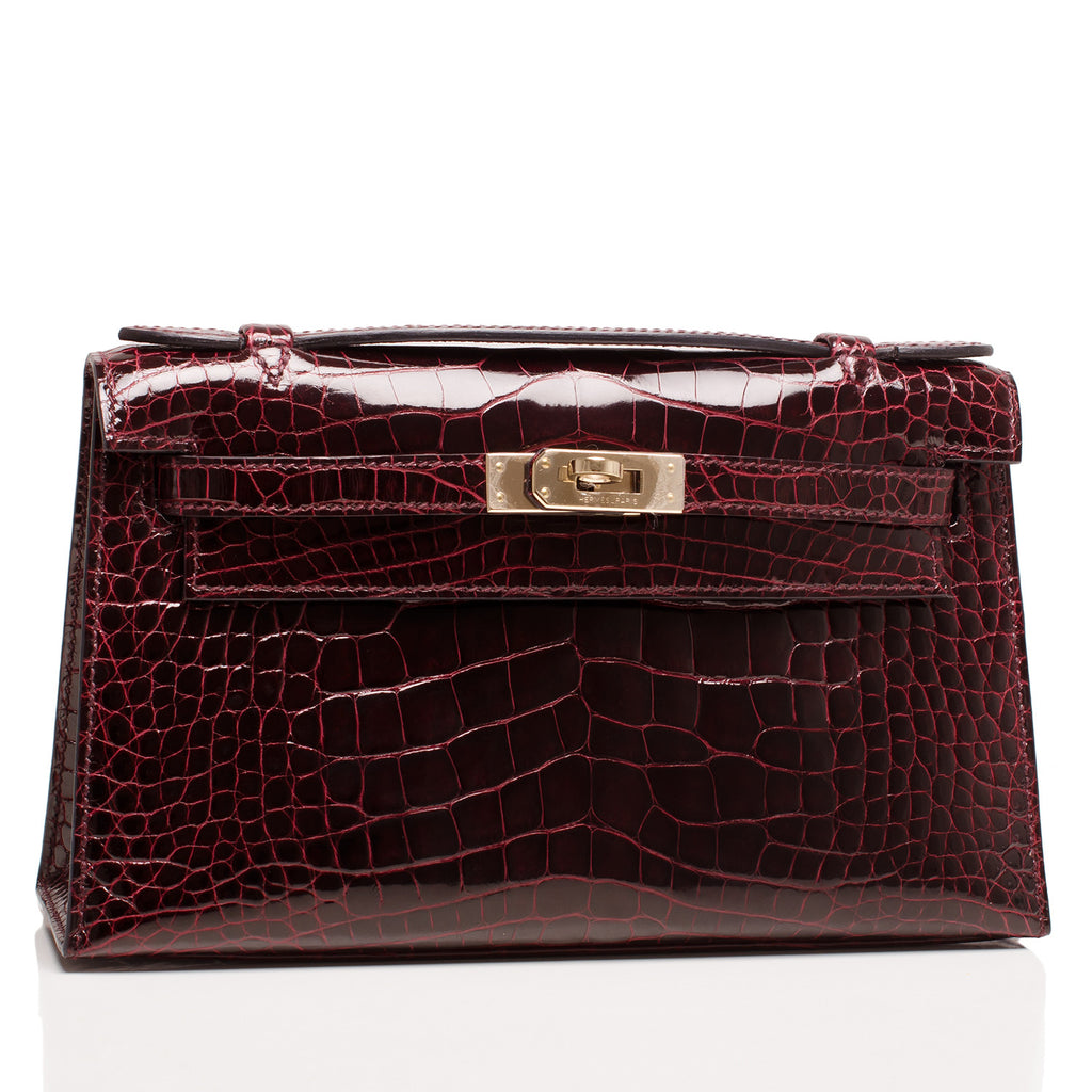 Hermes Bordeaux Shiny Alligator Mini Kelly Pochette