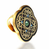 Black Byzantine-Style Cocktail Ring in 18kt Gold Vermeil With Swarovski crystals