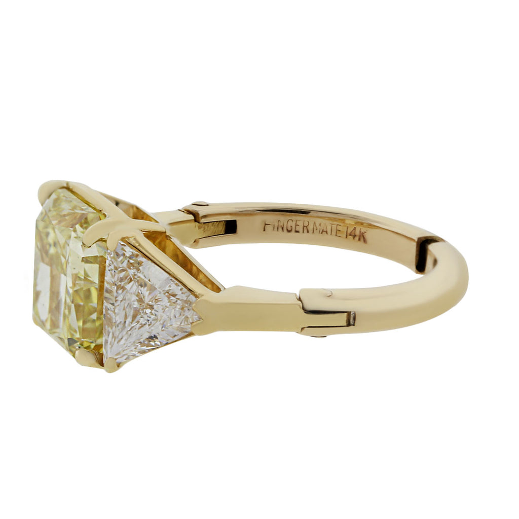 14K YELLOW GOLD 3.80CT NATURAL FANCY YELLOW GIA CERTIFIED DIAMOND RING