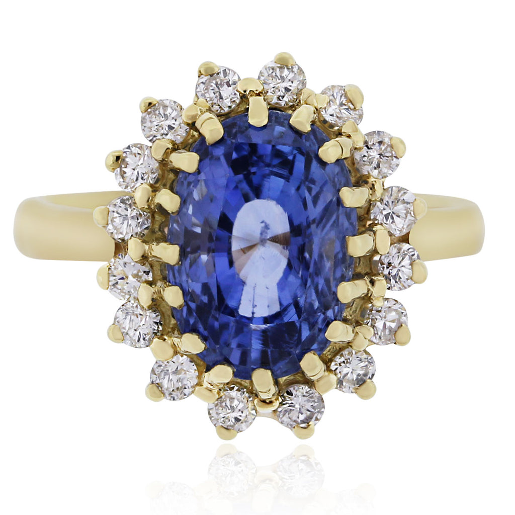14K YELLOW GOLD 5.82CT NATURAL UNHEATED CEYLON SAPPHIRE GIA CERTIFIED RING