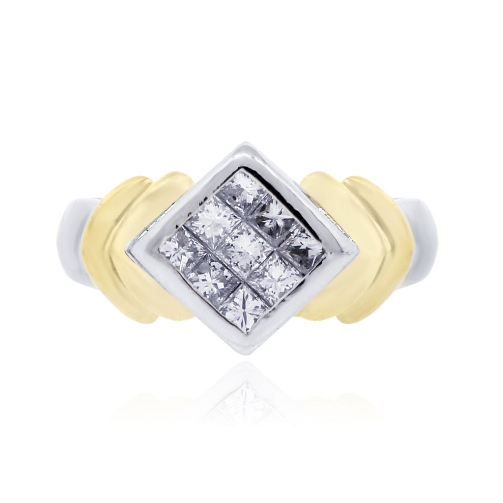 14K TWO TONE GOLD 0.60CTW INVISIBLE SET PRINCESS CUT DIAMOND RING