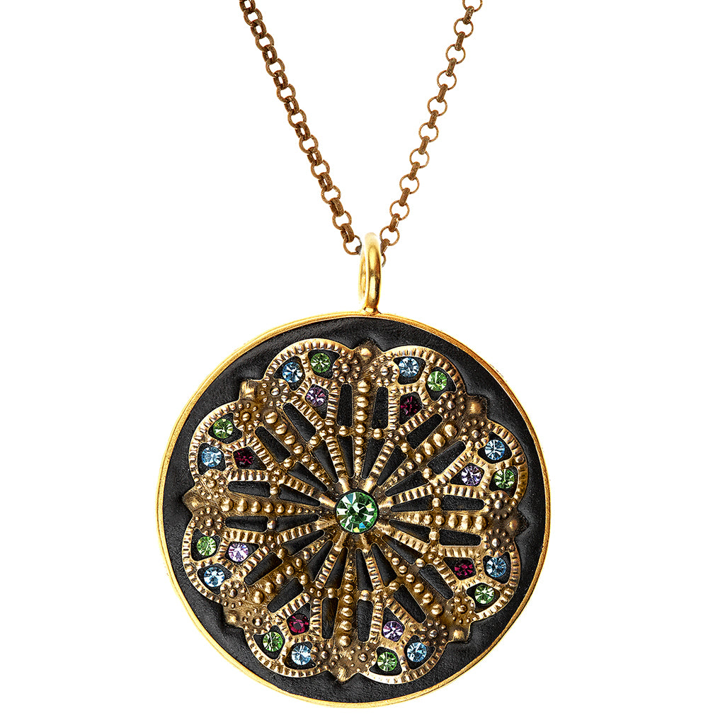 Black Byzantine Style Pendant in Silver,Gold Vermeil and Swarovski Crystals