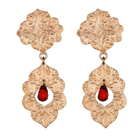 Stunning Rose Gold Vermeil Earrings Adorned with Garnets