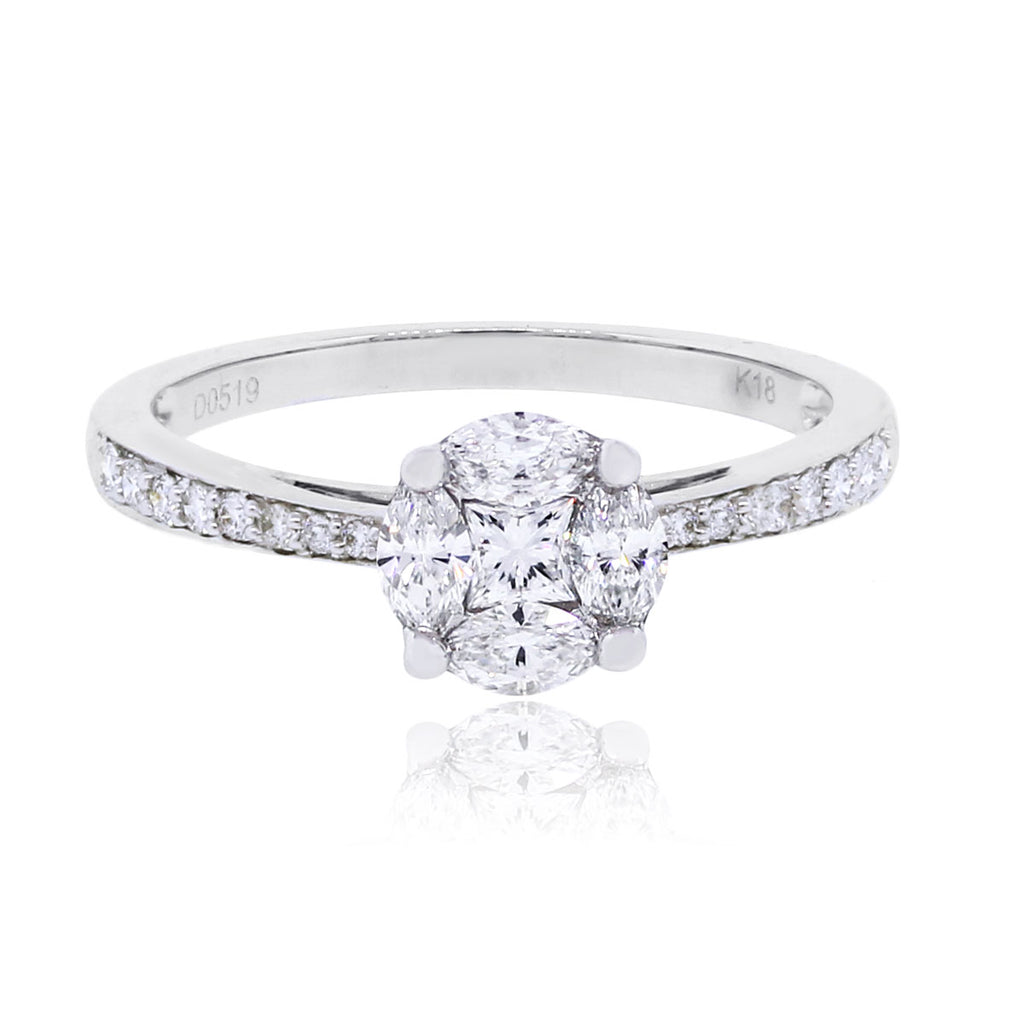 18K WHITE GOLD INVISIBLY SET DIAMOND ENGAGEMENT RING