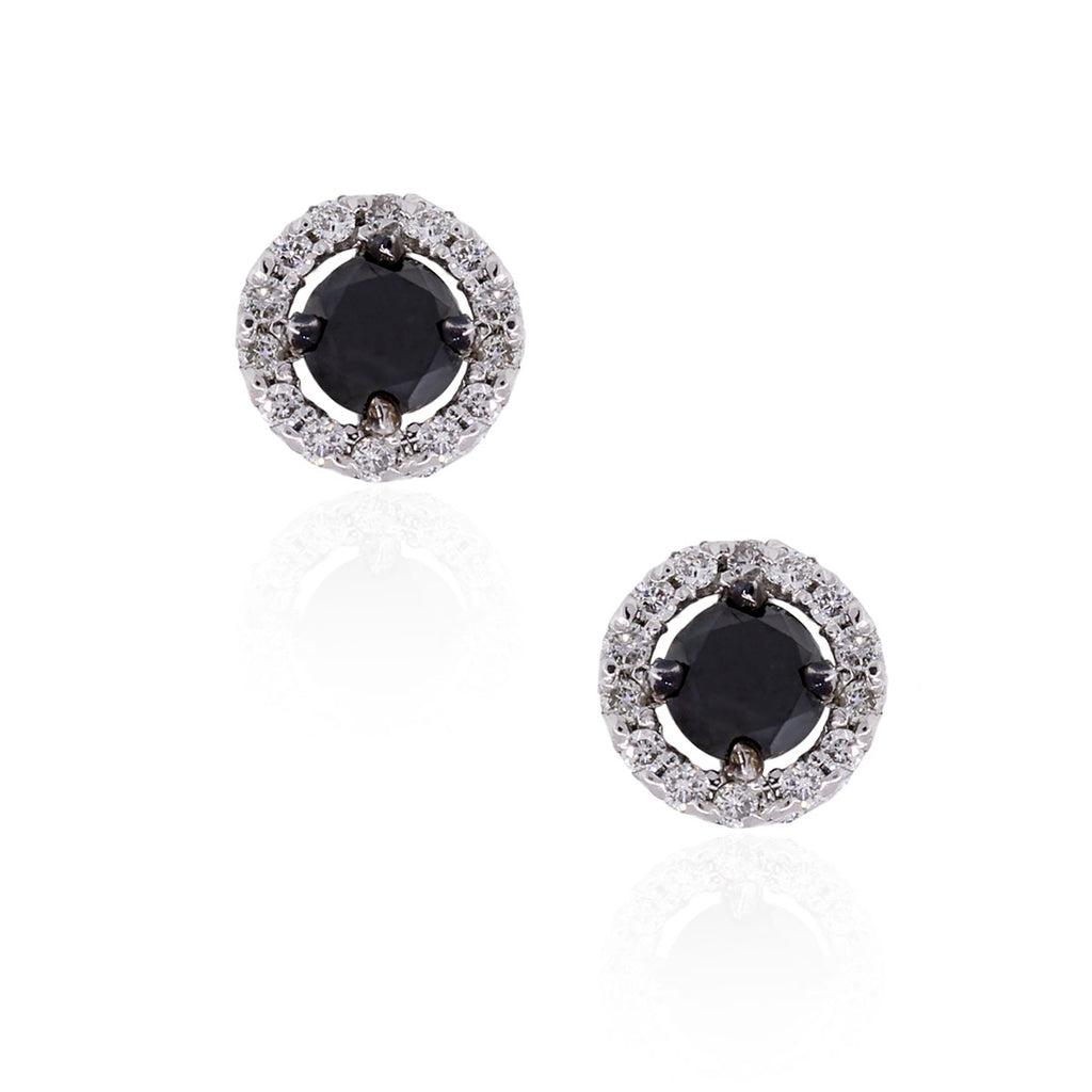 14K WHITE GOLD 0.80CTW BLACK AND WHITE DIAMOND STUD EARRINGS