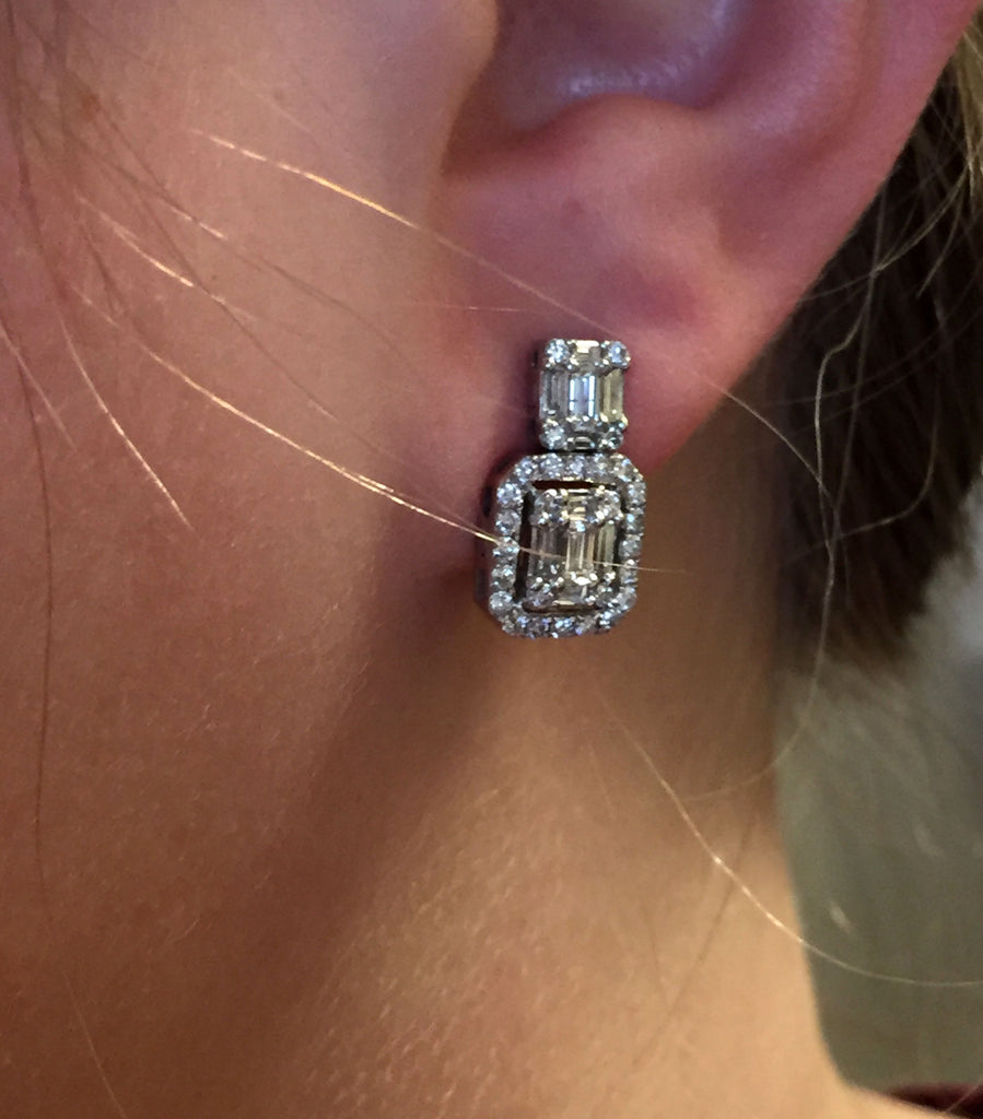 14K ROSE GOLD 65CTW TANZANITE SLICE WITH DIAMOND ACCENTS EARRINGS