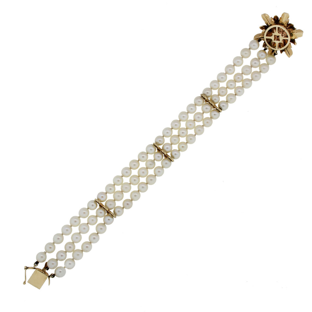 14K YELLOW GOLD RUBY AND PEARL BRACELET