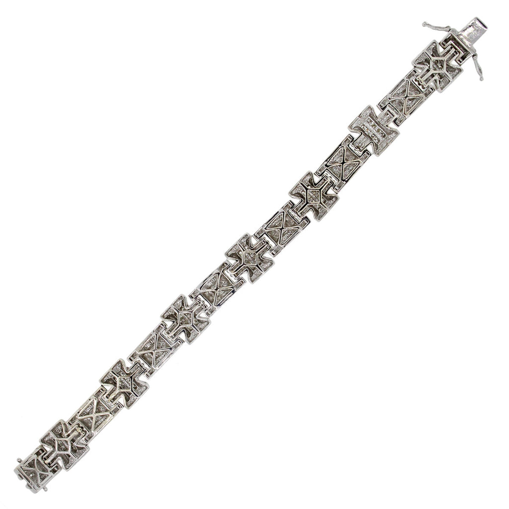 14K WHITE GOLD 1.30CTW MEN'S DIAMOND BRACELET