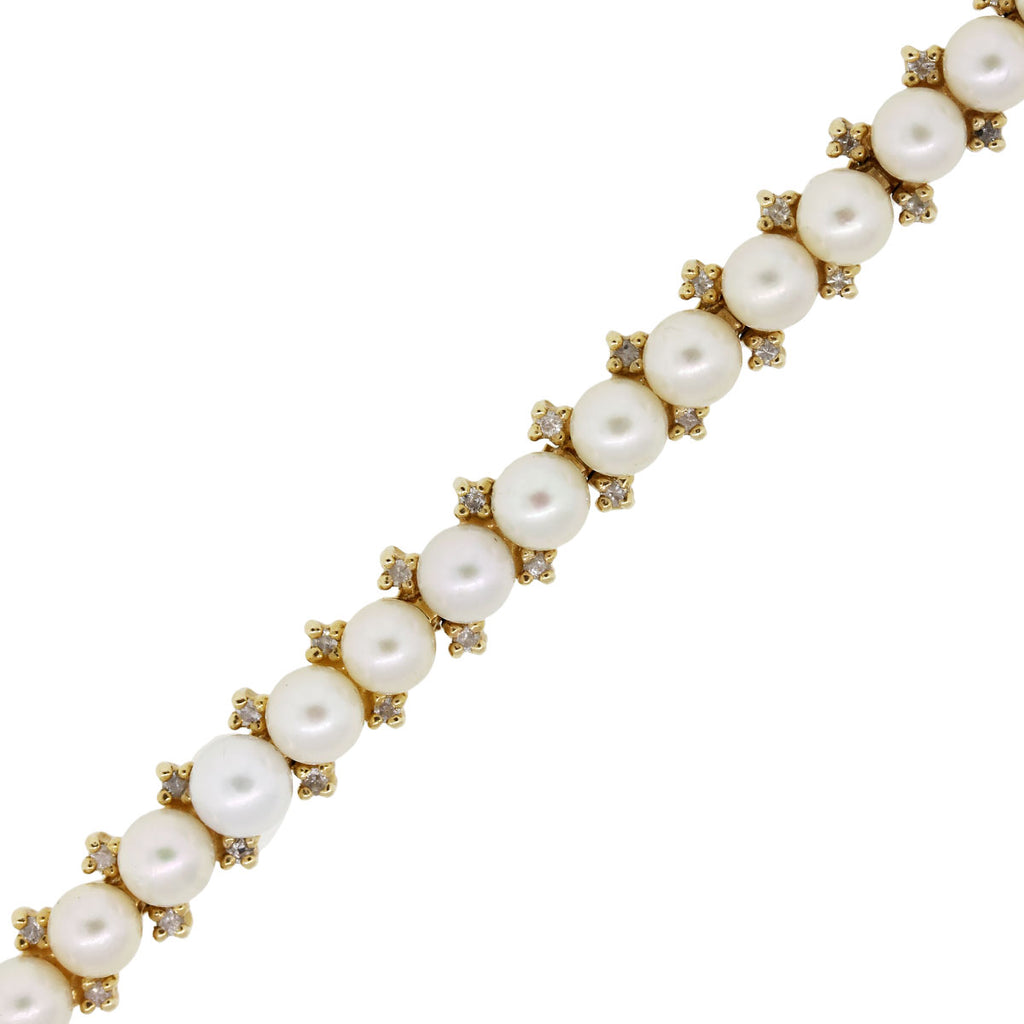 14K YELLOW GOLD 0.70CTW DIAMOND AND PEARL BRACELET