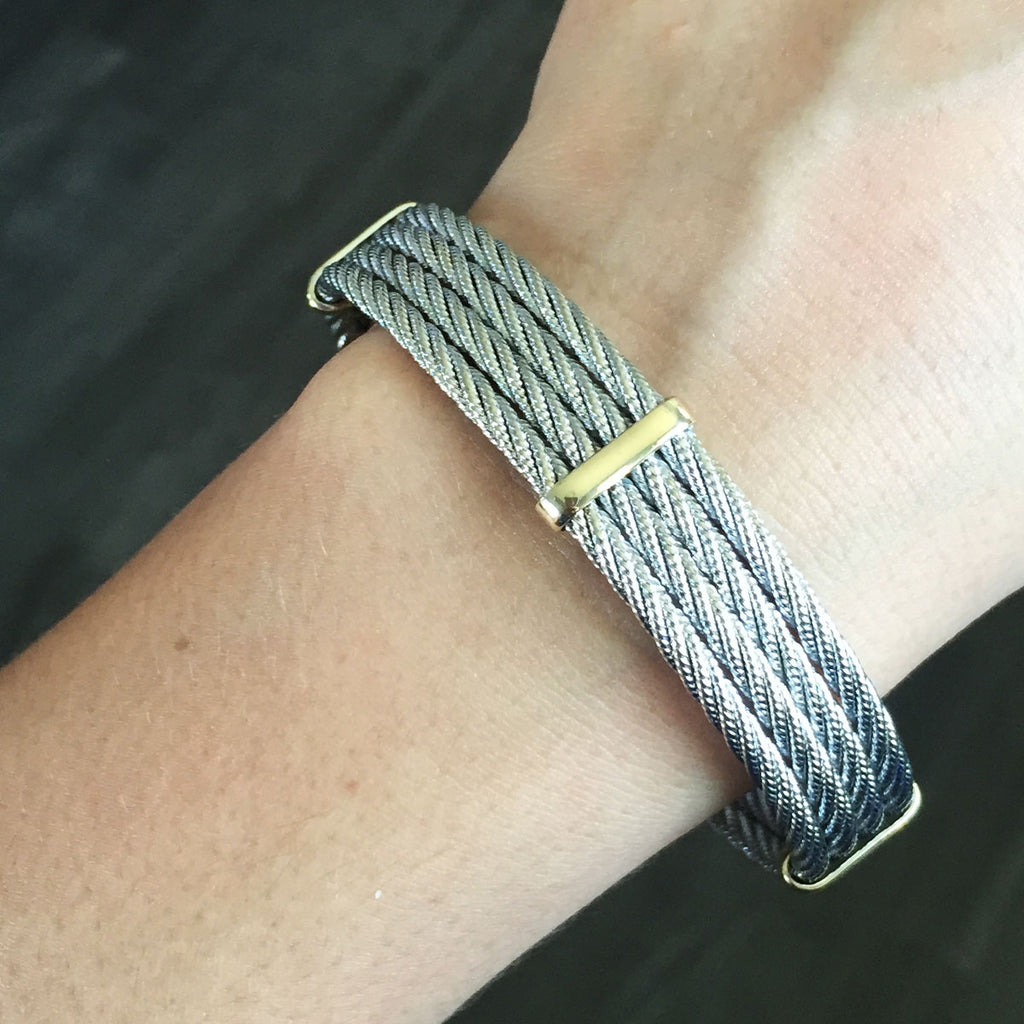 14K YELLOW GOLD STERLING SILVER WOVEN CABLE BANGLE